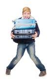 Uomo divertente con bagagli Fotografia Stock Libera da Diritti