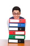 Uomo divertente con i lotti delle cartelle Fotografie Stock