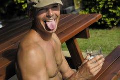 Uomo divertente con il berreto Fotografia Stock Libera da Diritti