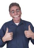 Uomo divertente con il grande sorriso felice sul fronte immagine stock