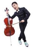 Uomo divertente con il violino Immagine Stock