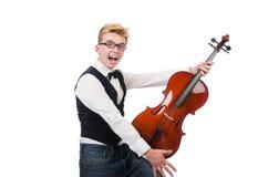 Uomo divertente con il violino Fotografia Stock Libera da Diritti