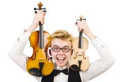 Uomo divertente con il violino Fotografia Stock