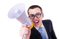 Uomo divertente con l'altoparlante Fotografia Stock Libera da Diritti