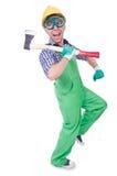 Uomo divertente con l'ascia Immagine Stock Libera da Diritti