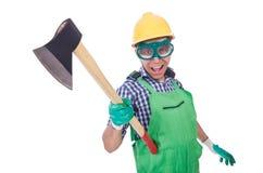 Uomo divertente con l'ascia Fotografie Stock Libere da Diritti