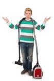 Uomo divertente con l'aspirapolvere Fotografie Stock