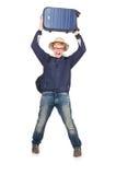 Uomo divertente con l'uso dei bagagli Immagine Stock Libera da Diritti