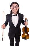 Uomo divertente con lo strumento di musica Fotografia Stock