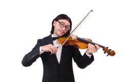 Uomo divertente con lo strumento di musica Immagine Stock