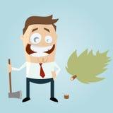 Uomo divertente del fumetto con l'albero abbattuto Fotografia Stock Libera da Diritti