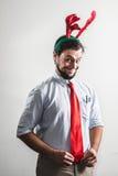 Uomo divertente di affari di natale Fotografia Stock