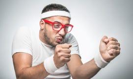 Uomo divertente di sport fotografia stock libera da diritti