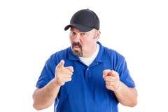 Uomo dogmatico che fa un punto in una discussione Fotografia Stock