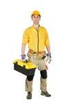 Uomo domestico di riparazione isolato Immagini Stock