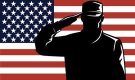 Uomo e bandierina di servizio militare Immagine Stock