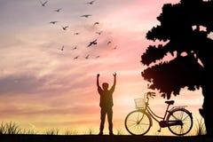 uomo e bici di silouette Immagini Stock