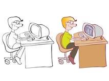 Uomo e calcolatore illustrazione di stock