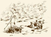 Uomo e cammelli all'appassito a bene in deserto Illustrazione di vettore Immagini Stock