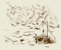 Uomo e cammelli all'appassito a bene in deserto Illustrazione di vettore Immagini Stock Libere da Diritti