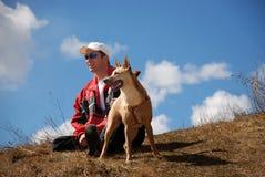 Uomo e cane Fotografia Stock