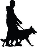 Uomo e cane illustrazione vettoriale