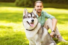 Uomo e cane nel parco Immagine Stock Libera da Diritti