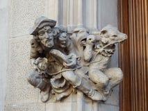 Uomo e cane in pietra, a Paseig de Gracia - Barcellona Fotografia Stock