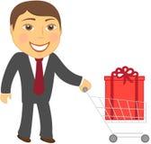 Uomo e carrello di acquisto con la casella Immagine Stock Libera da Diritti