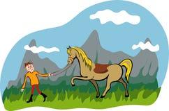 Uomo e cavallo che camminano nella montagna Immagine Stock Libera da Diritti