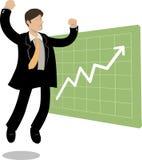 Uomo e diagramma di salto in su Immagine Stock