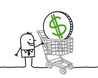 Uomo e dollaro in un carrello di acquisto Fotografia Stock Libera da Diritti