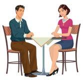 Uomo e donna alla tavola - illustrazione Immagini Stock