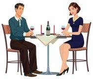 Uomo e donna alla tavola - illustrazione Immagine Stock