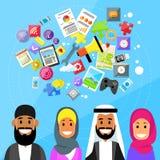 Uomo e donna arabi etnici di Diverce della gente musulmana illustrazione vettoriale