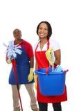 Uomo e donna attraenti di pulizia Immagini Stock Libere da Diritti