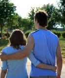 Uomo e donna in azzurro Immagini Stock
