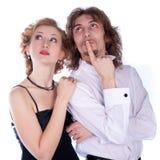 Uomo e donna in in bianco e nero Fotografia Stock