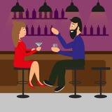 Uomo e donna che bevono in un pub o in una barra illustrazione vettoriale