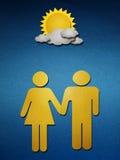 Uomo e donna che camminano congiuntamente Fotografia Stock