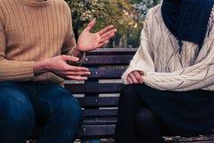 Uomo e donna che discutono nel parco Immagini Stock