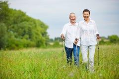 Uomo e donna che fanno un'escursione di estate Immagini Stock