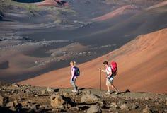 Uomo e donna che fanno un'escursione sulla bella traccia di montagna Immagini Stock