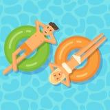 Uomo e donna che galleggiano sui cerchi gonfiabili in una piscina illustrazione di stock