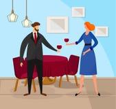 Uomo e donna che godono della vite rossa al ristorante royalty illustrazione gratis