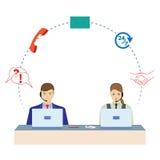 Uomo e donna che lavorano in una call center Servizio di sostegno Fotografie Stock Libere da Diritti