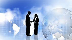 Uomo e donna che mostrano lavoro di squadra e che agitano le mani illustrazione di stock