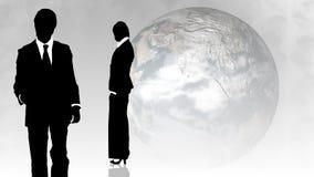 Uomo e donna che mostrano lavoro di squadra nel concetto di busines illustrazione di stock