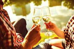 Uomo e donna che risuonano i vetri di vino con champagne Fotografie Stock Libere da Diritti