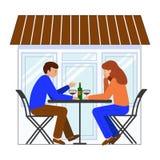 Uomo e donna che si siedono ad una tavola in un caffè della via Sulla tavola è una bottiglia di vino, vetri illustrazione vettoriale